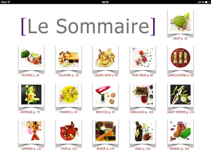 Sommaire : chapitres tactiles